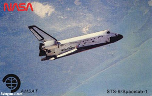 QSL card from Spacecraft Columbia - STS-9/Spacelab-1