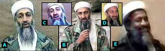 Picture of 5 Osama's with one that does not look like the others