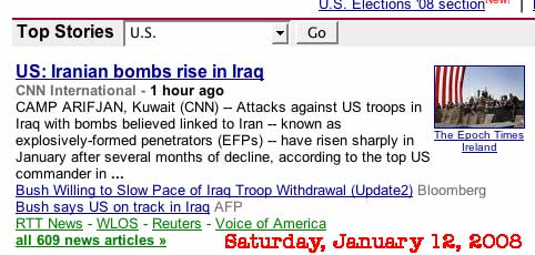 Screen shot Google 200801.12 - US: Iranian bombs rise in Iraq