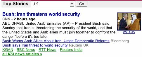 Google News screen shot 200801.13 Lying Bush says, Iran threatens world security.