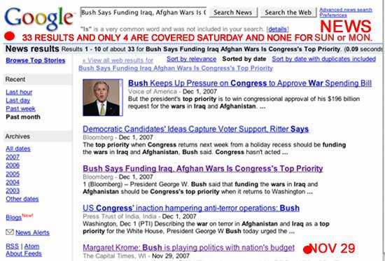 4 Google CORPORATE MEDIA NEWS results on Bush threatening U.S. Workers