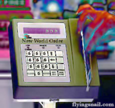 Abstract Picture of New World Order 666 Identity Card Swipe Machine with Demonic Hand Running A Card through it.