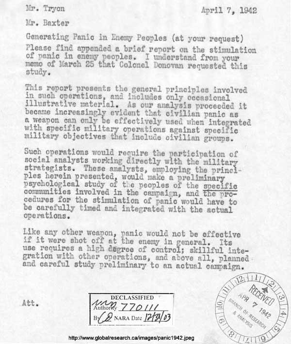 Declassified letter on how to panic the United States people.