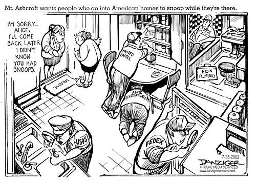 Cartoon of delivery services snooping by Danziger