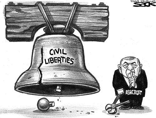 cartoon ashcroft breaking the liberty bell