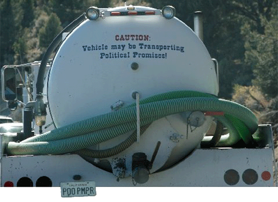 Caution: Vehicle may be Transporting Political Promises!