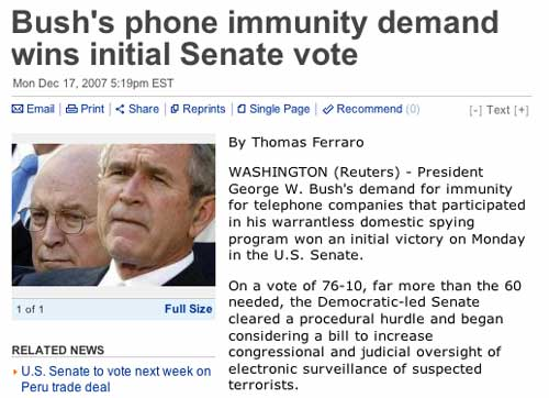 Reuters - Bush's phone immunity demand wins initial Senate vote - America pukes!