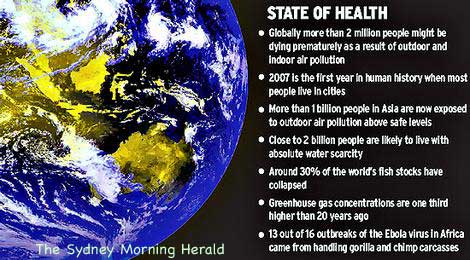 State of Heallth (of Earth) image from The Sydney Morning Herald