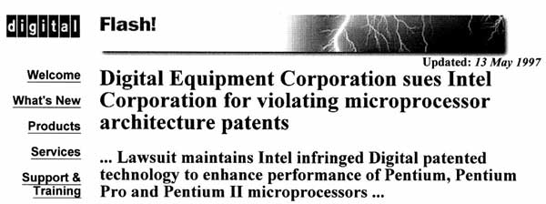 Digital Equipment Corporation sues Intel Corporation for violating microprocessor architecture patents