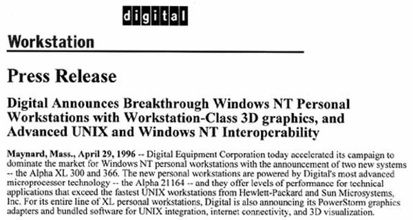 Digital Announce Breakthrough Windows NT Personal Workstations