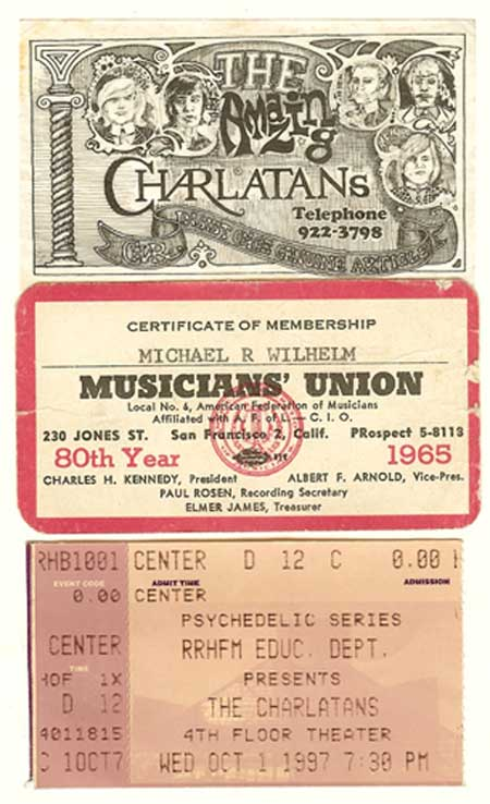 Charlatans business card, Mike's first Union Card, Ticket for Charlatans at the Rock and Roll Hall of Fame and Museum.