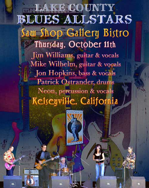 Lake County Blues Allstars, Thursday October 11th, Saw Shop Gallery Bistro 7 PM