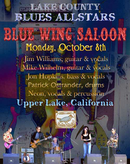 Lake County Blues Allstars, Monday October 8th, Blue Wing Saloon