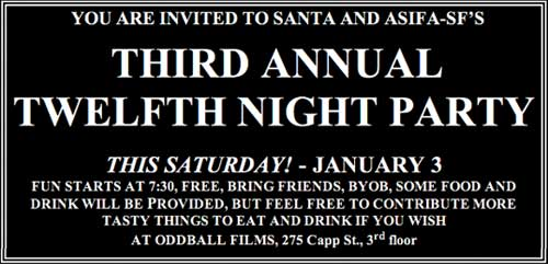 Invitation to Santa and ASIFA-SF 12th NIGHT PARTY
