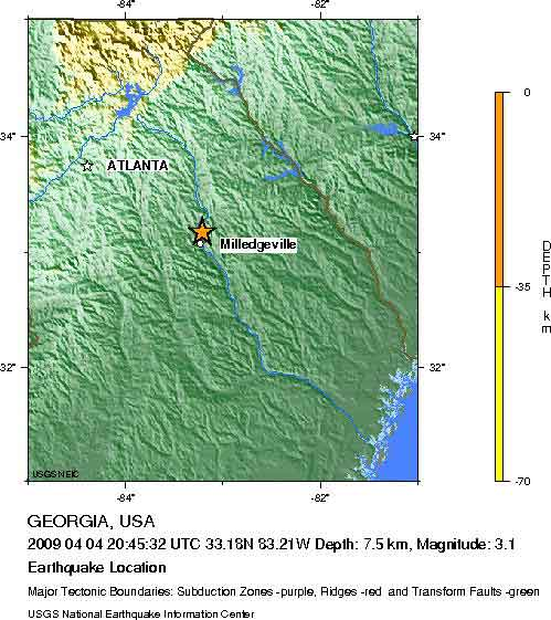 Georgia, USA Earthquake 200904.04 - M3.1