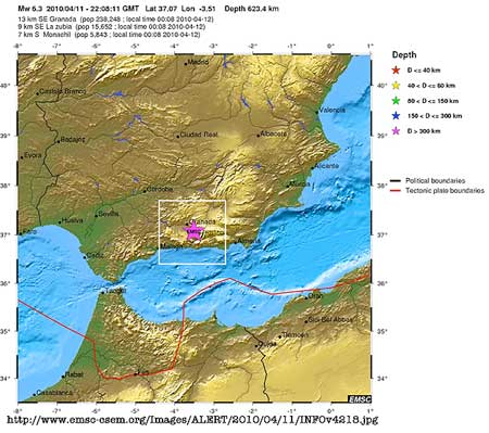 201004.11 Spain Earthquake - Image via Centre Sismologique Euro-Méditerranéen European-Mediterranean Seismological Centre