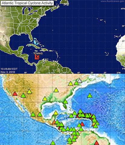Hurricane Tomas and Seismic Activity - Atlantic - Caribbean Sea - Gulf of Mexico