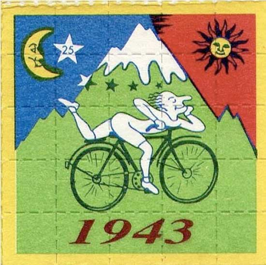 April 19, 1943 My Bicycle and Me ~ https://upload.wikimedia.org/wikipedia/commons/8/89/Hoffman_Bicycle_Day_-_full_square.JPG