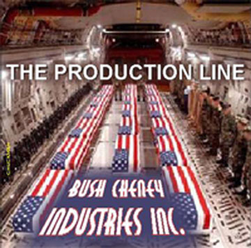 The Production Line - Bush Cheney Industries Inc. showing Military Coffins in transport