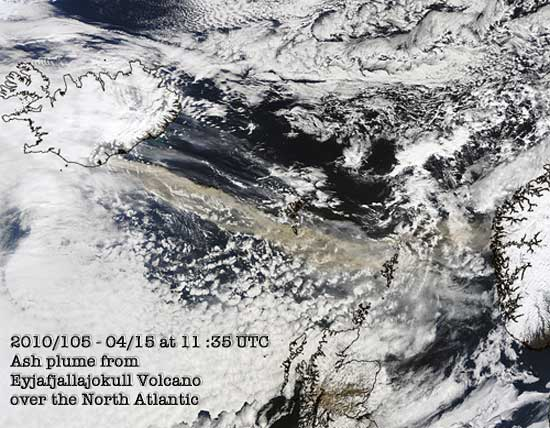 2010/105 - 04/15 at 11 :35 UTC Ash plume from Eyjafjallajokull Volcano over the North Atlantic