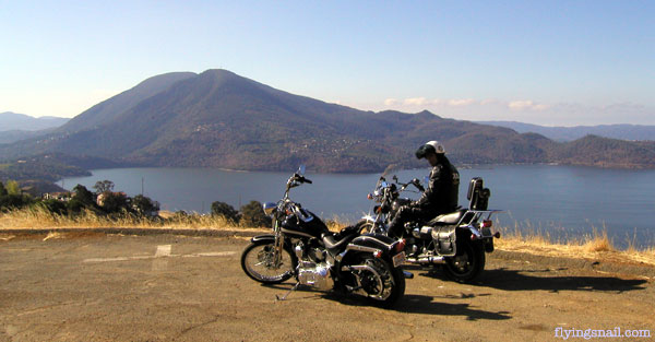Mount Konocti, Lake County, CA in background, Mike Wilhelm on the XS Yamaha and Sprung's 2003 FXSTS