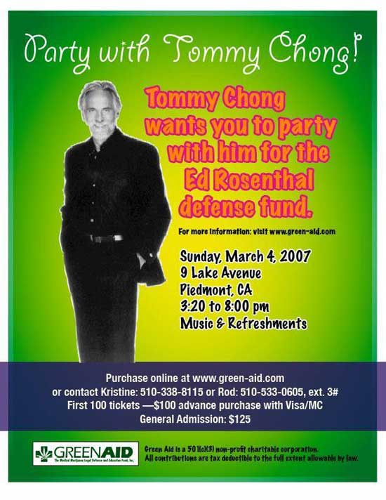Invite from Tommy Chong to attend a benefit for Ed Rosenthal