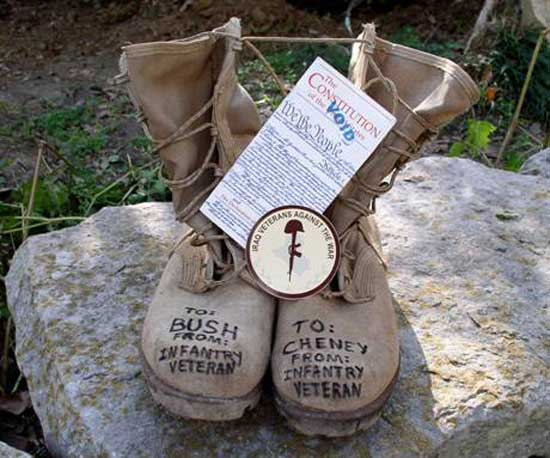 Boots for War Criminals Bush and Cheney