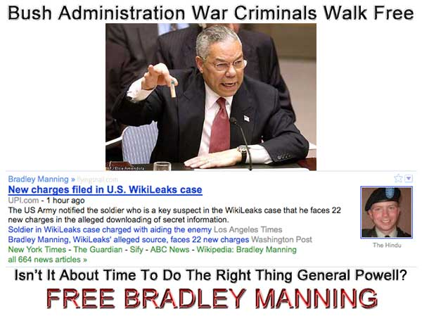 General Colin Powell Should Come Clean About the Bush Administration and Help Free Bradley Manning