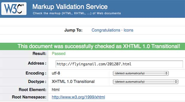 flyingsnail.com July 2012 W3C Validation, August 13, 2012