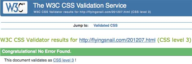 flyingsnail.com W3C CSS July 2012 Validation, August 13, 2012