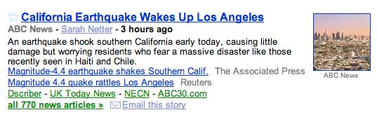 March 16, 2010, magnitude 4.4 L.A. Earthquake snipped from Google News
