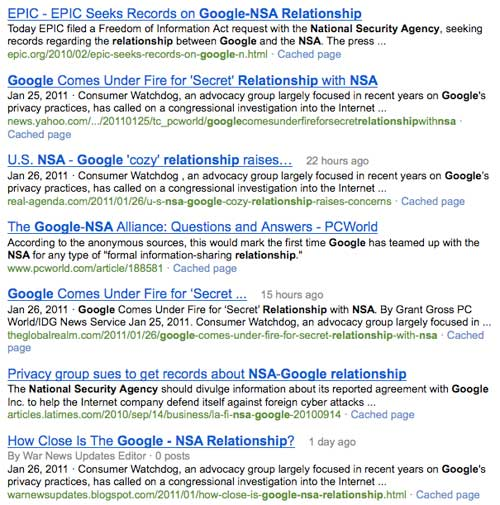 Google / NSA Relationship via Bing