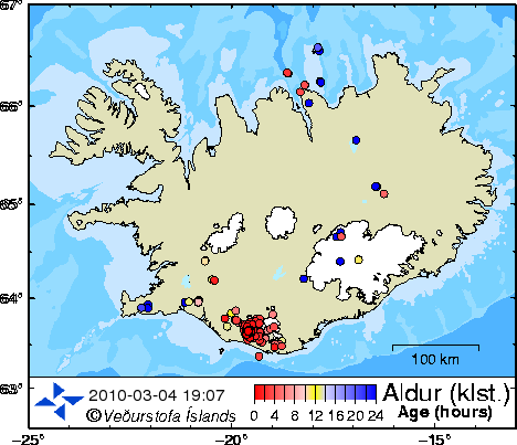 Locations of earthquakes in Iceland in the last 48 hours - 201003.04