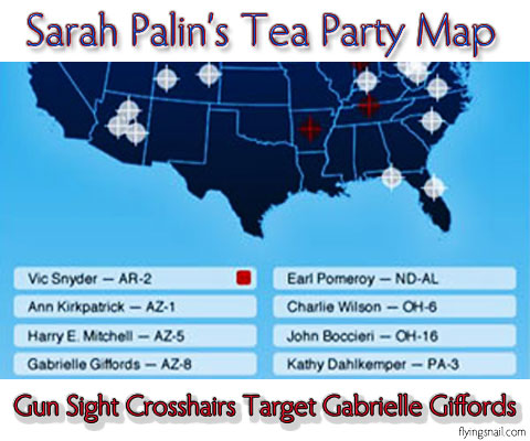 Sarah Palin's Gun Sight Crosshairs Tea Party Map Targets Congresswoman Gabrielle Giffords