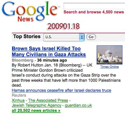 Brown says Israel KILLED TOO MANY CIVILIANS in Gaza Attacks - plus 20, 000 other articles from Google News