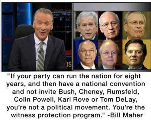 Bill Maher on the GOP canidates and the missing [CRIMINAL] Bush Administration
