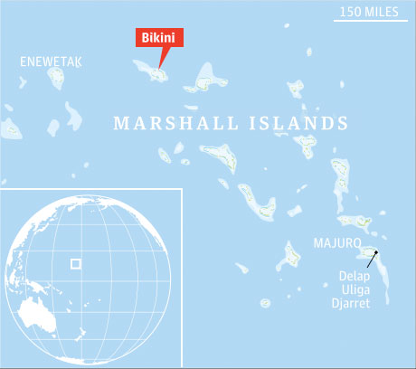 The Guardian, UK, map of Marshall Islands with Bikini Island highlighted