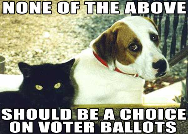 NONE OF THE ABOVE SHOULD BE A CHOICE ON VOTER BALLOTS