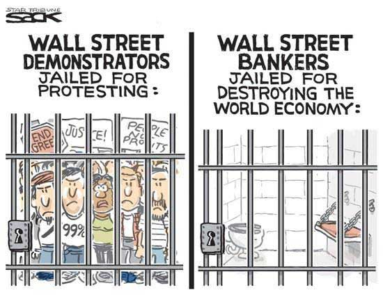 On the left: WALL STREET DEMONSTRATORS JAILED FOR PROTESTING (many people in jail) On the right: WALL STREET BANKERS JAILED FOR DESTROYING THE WORLD ECONOMY (no corporate criminals in jail)