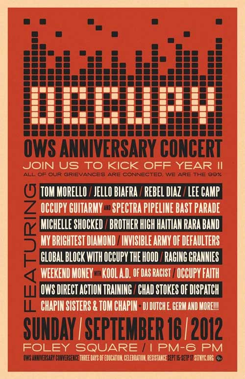 September 16: Occupy Guitarmy OWS Anniversary Concert Featuring Tom Morello, Jello Biafra, and Many More