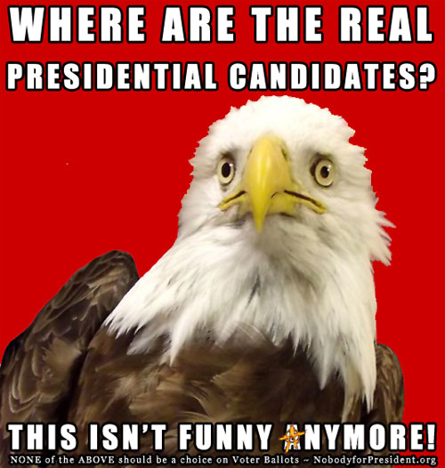 OKAY, SERIOUSLY... WHERE ARE THE REAL PRESIDENTIAL CANDIDATES? THIS ISN'T FUNNY ANYMORE.
