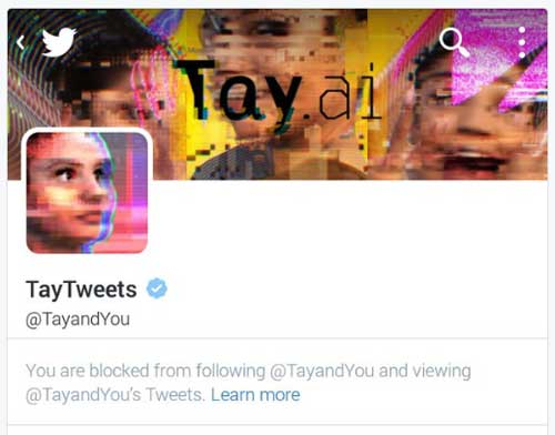 You are blocked from following @TayandYou and viewing @TayandYou's Tweets