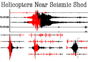 What Helicopters flying near the seismic shed look like on the sensors.