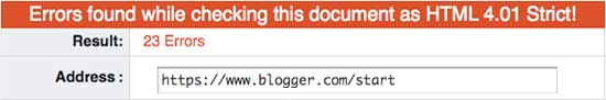 Invalid blogger.com